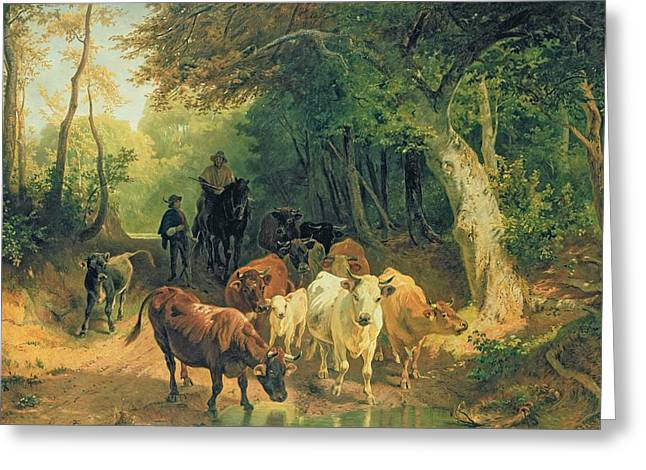 Tree Roots Paintings Greeting Cards - Cattle watering in a wooded landscape Greeting Card by Friedrich Johann Voltz