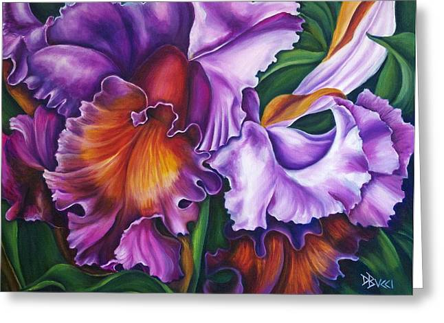 Bucci Paintings Greeting Cards - Cattleya Orchid Greeting Card by Debra Bucci