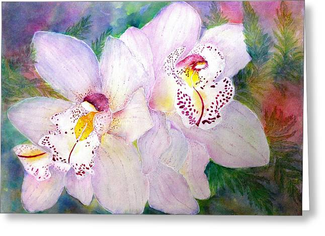 Cattleya Paintings Greeting Cards - Cattleya Orchid Greeting Card by Janet Immordino