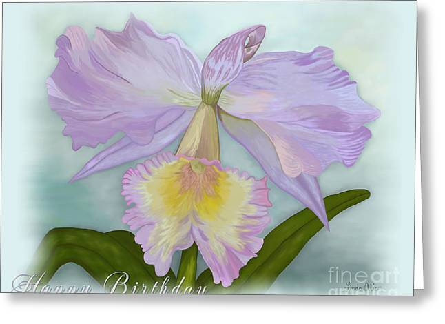 Cattleya Digital Art Greeting Cards - Cattleya Orchid Misted Card Greeting Card by Linda Allan
