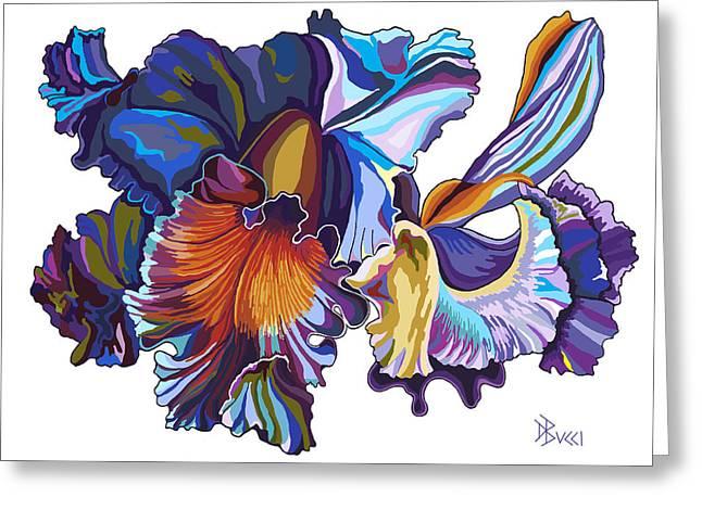Bucci Paintings Greeting Cards - Cattleya Orchid Multi Blue Greeting Card by Debra Bucci
