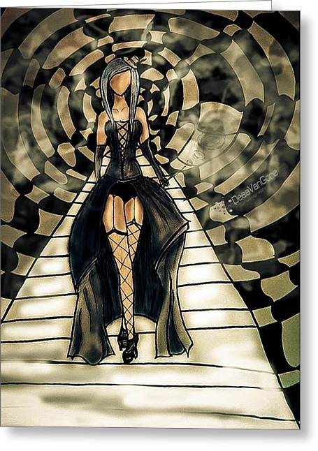 Catwalk Drawings Greeting Cards - CatWalk Greeting Card by Deea Vangore