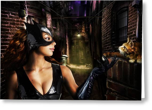 Recently Sold -  - Streetlight Greeting Cards - Catwoman Greeting Card by Alessandro Della Pietra