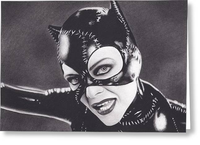 Michelle Drawings Greeting Cards - Catwoman Greeting Card by Brittni DeWeese