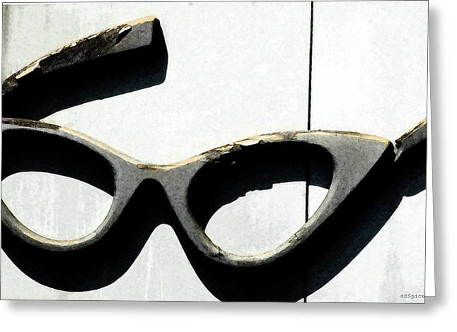 Eyeglasses Greeting Cards - Catwoman Eyeglasses Vintage Sign Greeting Card by AdSpice Studios