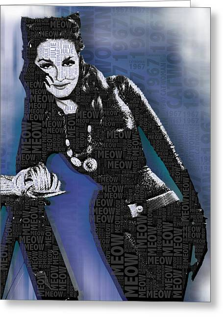 Batman Mixed Media Greeting Cards - Catwoman Julie Newmar Greeting Card by Tony Rubino