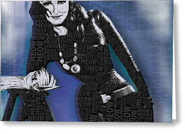 Popular Culture Greeting Cards - Catwoman Julie Newmar Greeting Card by Tony Rubino