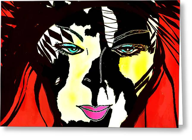 Abstract Woman In Color Greeting Cards - Catwoman Greeting Card by Larissa Vishtell