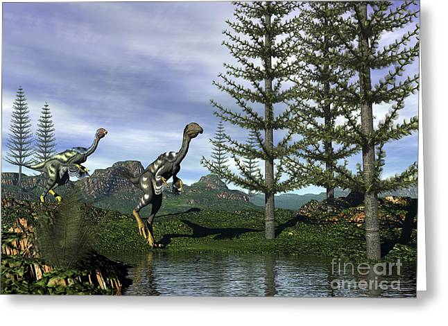 Stream Digital Art Greeting Cards - Caudipteryx Dinosaurs At The Waters Greeting Card by Elena Duvernay