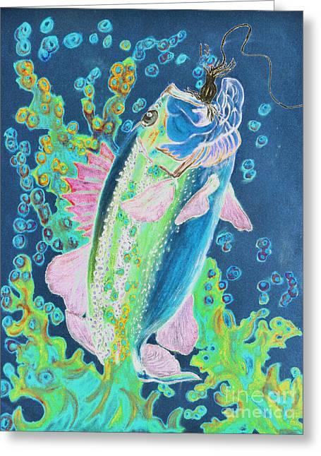 Fish Pastels Greeting Cards - Caught 3 Greeting Card by Rebecca Holland Hudnall