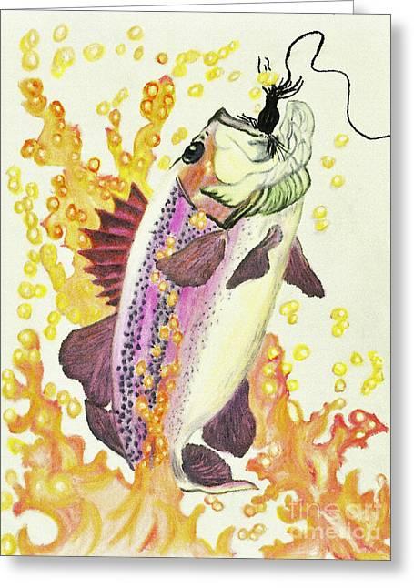 Fish Pastels Greeting Cards - Caught 4 Greeting Card by Rebecca Holland Hudnall