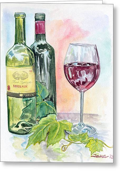 Grape Leaf Greeting Cards - Caught Between the Two Greeting Card by Jana Goode