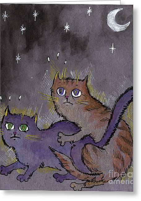 Caught In Act Greeting Card by Angel  Tarantella