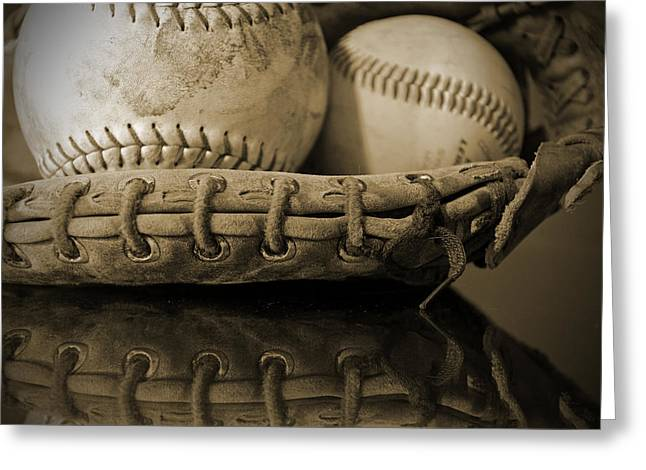 Baseball Glove Greeting Cards - Caught In Memories Greeting Card by Pam Walker