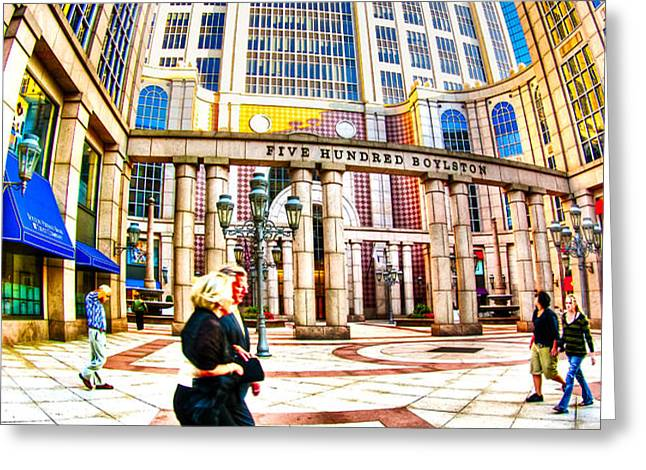 Caught In The Geometry Of Boylston Street Greeting Card by Mark Tisdale