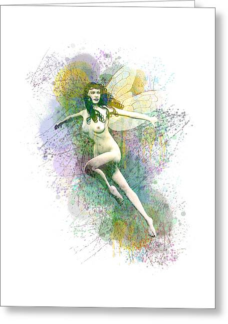 Tinker Bell Greeting Cards - Caught in the spider web Greeting Card by Joaquin Abella