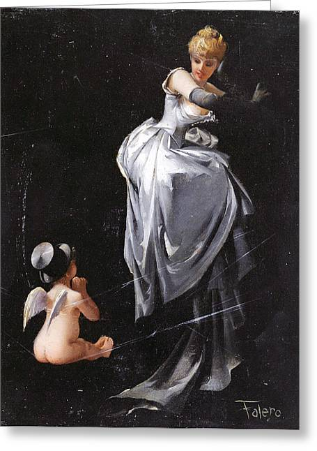 Web Paintings Greeting Cards - Caught in the Web Greeting Card by Luis Ricardo Falero