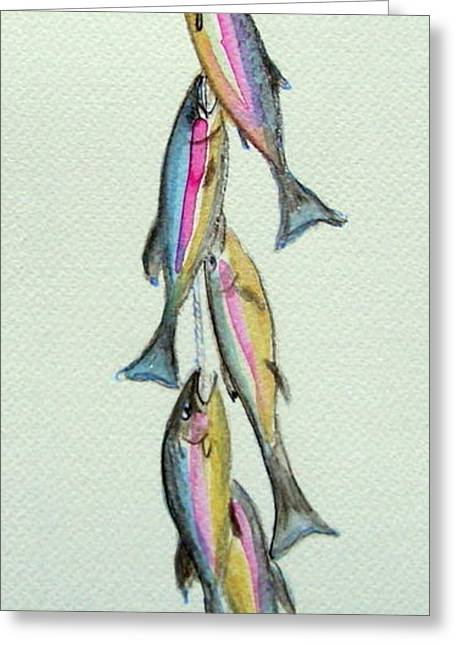 Rainbow Trout Greeting Cards - Caught My Limit Greeting Card by Caroline Colasanti