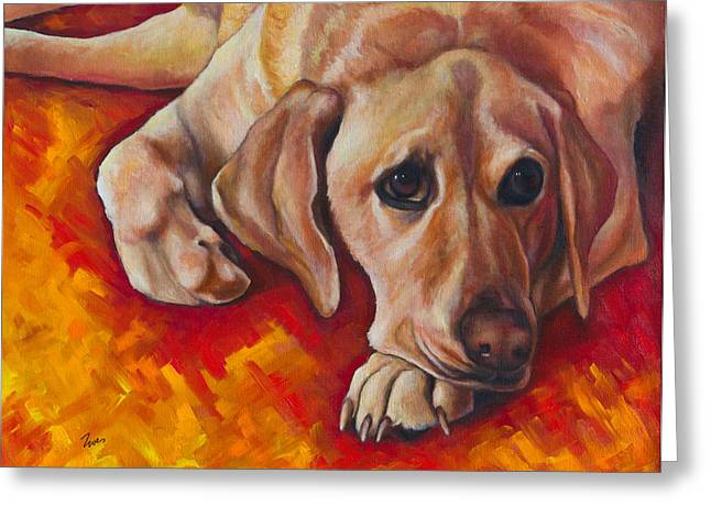 Golden Lab Greeting Cards - Caught Off Guard Greeting Card by Eve  Wheeler
