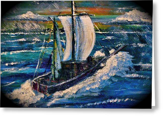 Wooden Ship Paintings Greeting Cards - Caught Out Greeting Card by Mark Whitehead