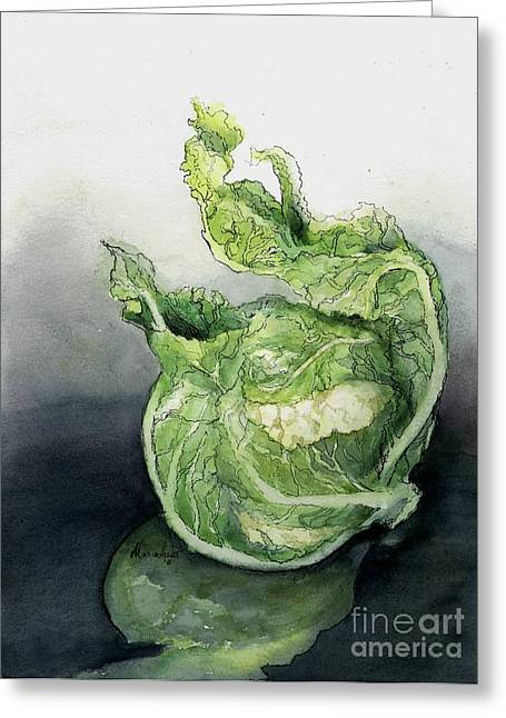 Cauliflower Greeting Cards - Cauliflower in Reflection Greeting Card by Maria Hunt