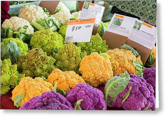 Cauliflower Market Stall Greeting Card by Jim West