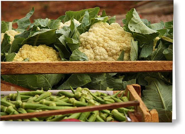 Ladyfinger Greeting Cards - Cauliflowers at a market stall Greeting Card by Celso Diniz