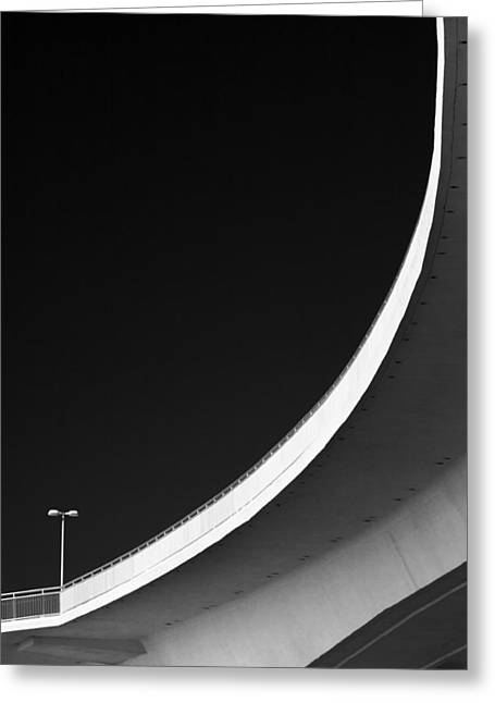 Florida Gifts Greeting Cards - Causeway Arc Clearwater Florida Black and White Greeting Card by David Smith
