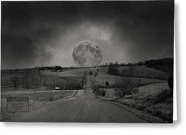 Roadway Digital Art Greeting Cards - Caution Beautiful Moon Rise Ahead Greeting Card by Betsy A  Cutler