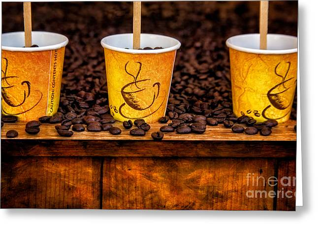 Coffee Drinking Greeting Cards - Caution... Contents Hot Greeting Card by Susan Candelario