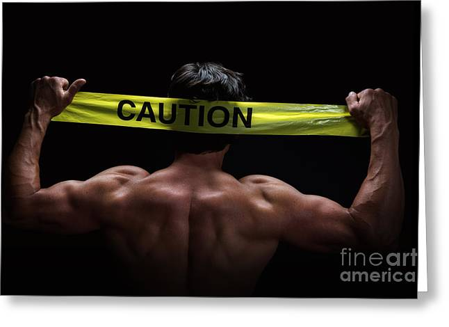 Caution Greeting Card by Jane Rix