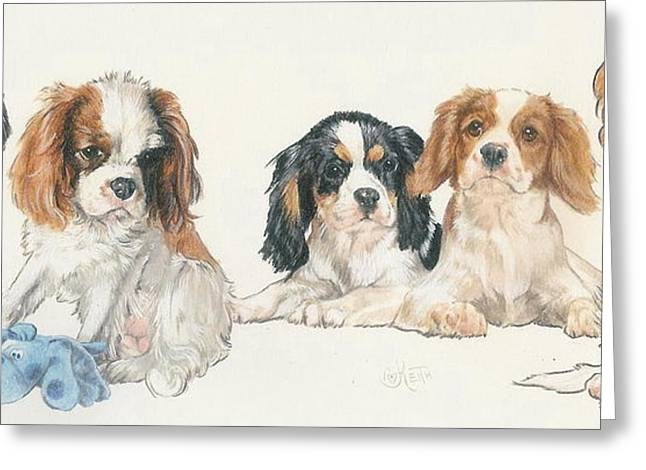 Toy Dogs Mixed Media Greeting Cards - Cavalier King Charles Puppies Greeting Card by Barbara Keith