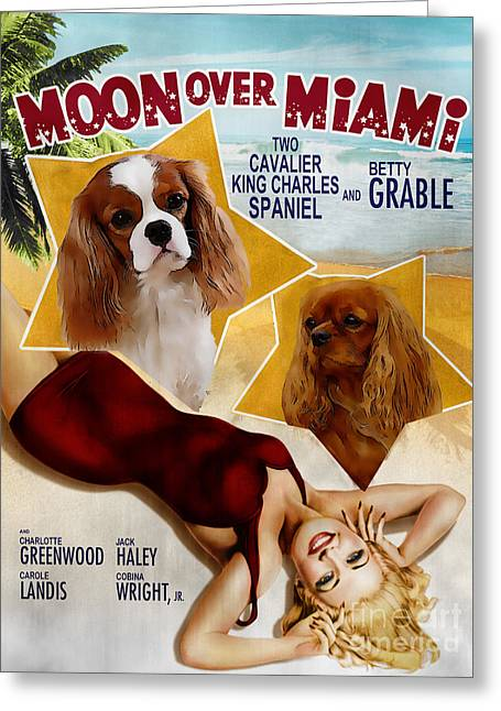 Dog Prints Greeting Cards - Cavalier King Charles Spaniel Art - Moon Over Miami Movie Poster Greeting Card by Sandra Sij