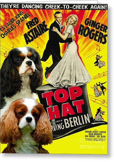 Dog Prints Greeting Cards - Cavalier King Charles Spaniel Art - Top Hat Movie Poster Greeting Card by Sandra Sij