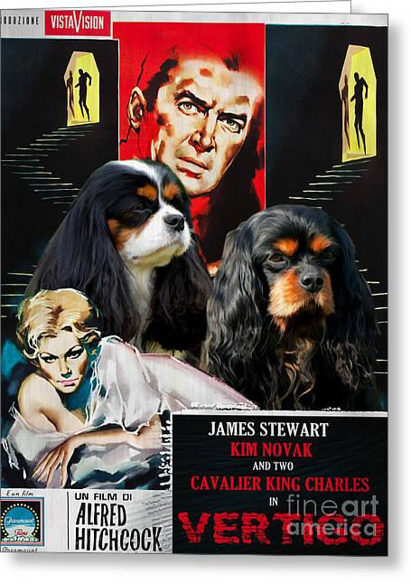 Vertigo Greeting Cards - Cavalier King Charles Spaniel Art - Vertigo Movie Poster Greeting Card by Sandra Sij