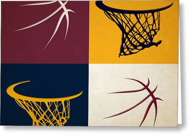 Cleveland Cavaliers Greeting Cards - Cavaliers Ball And Hoop Greeting Card by Joe Hamilton