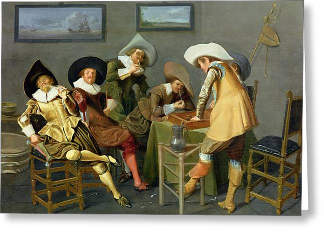 Playing Photographs Greeting Cards - Cavaliers In A Tavern Oil On Canvas Greeting Card by Dirck Hals