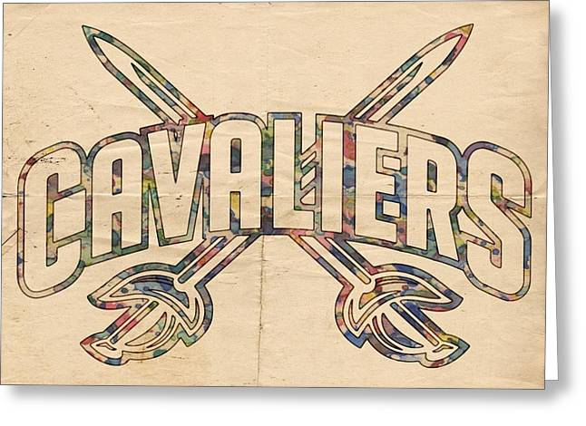 Cleveland Sports Greeting Cards - Cavaliers Poster Retro Greeting Card by Florian Rodarte