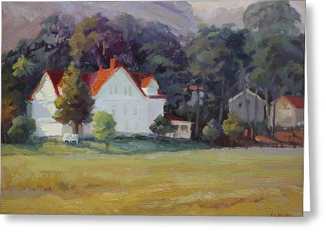 Sausalito Paintings Greeting Cards - Cavallo Point Greeting Card by Carol Smith Myer