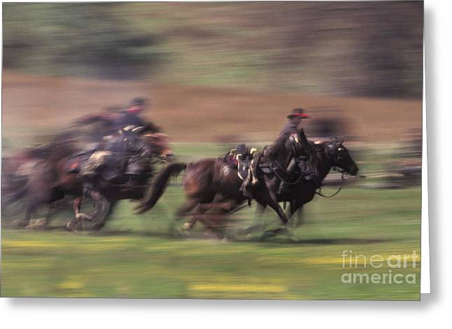 Historical Re-enactments Greeting Cards - Cavalry Battle At A Civil War Greeting Card by Ron Sanford