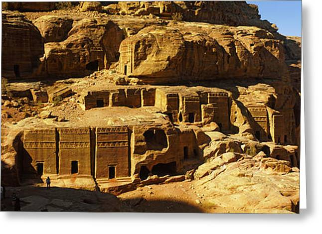 Cliff Dwellings Greeting Cards - Cave Dwellings, Petra, Jordan Greeting Card by Panoramic Images