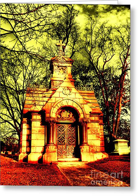 Headstones Greeting Cards - Cave Hill Haunting Greeting Card by Darren Fisher