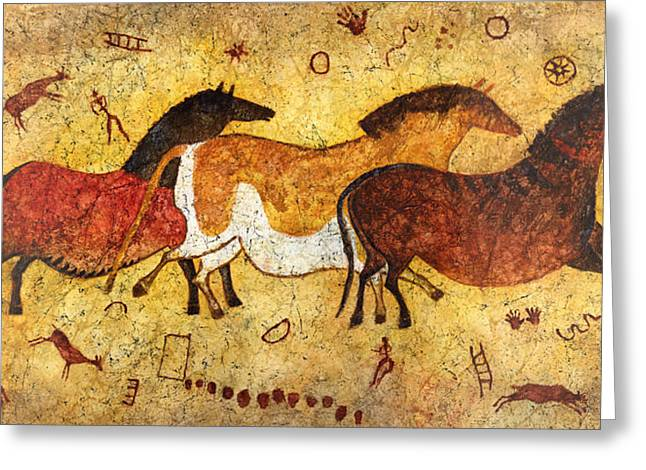 Stone Age Greeting Cards - Cave Horses Greeting Card by Hailey E Herrera