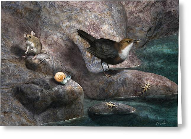 Cellar Greeting Cards - Cave Mouse and Friends Greeting Card by Gary Hanna