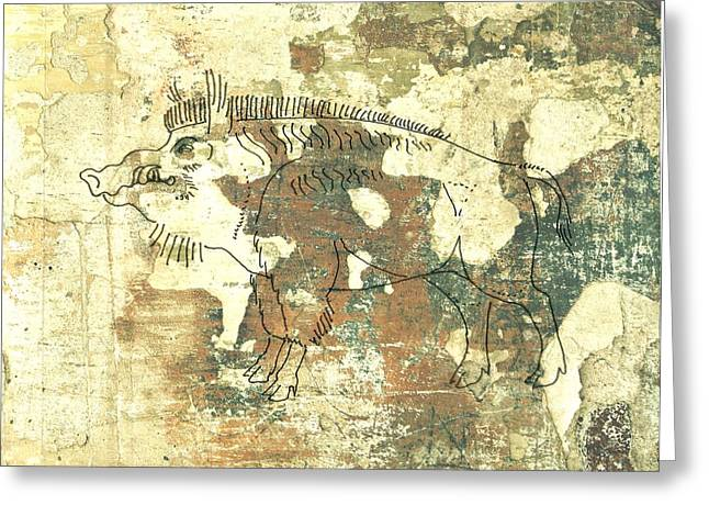 University Of Arkansas Drawings Greeting Cards - Cave Painting 3 Greeting Card by Larry Campbell