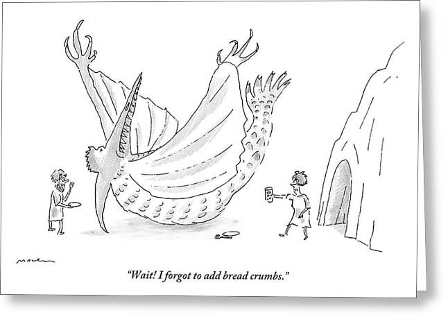 Caveman And Woman Begin To Eat A Pterodactyl Greeting Card by Michael Maslin