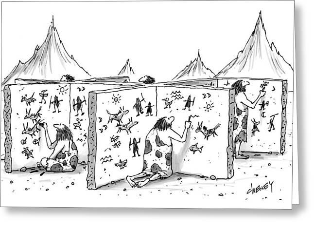 Cavemen Are Seen Carving Into Walls In The Form Greeting Card by Tom Cheney