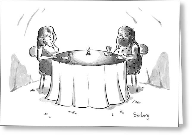 Cavemen On A Date With A Little Fire Greeting Card by Avi Steinberg