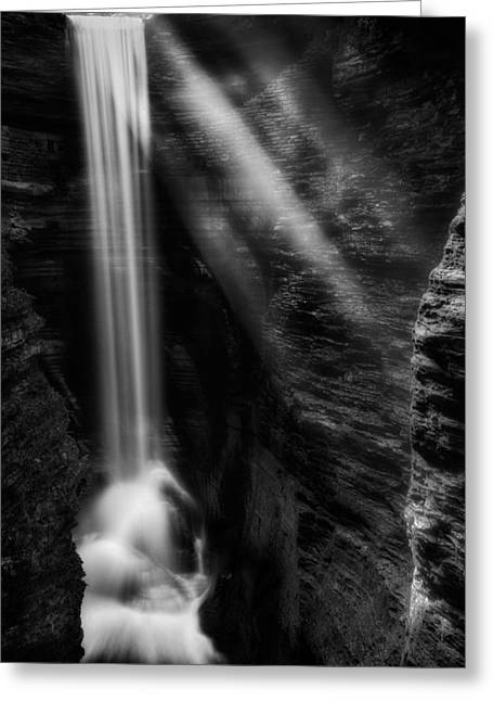 Finger Lakes Trail.cavern Cascade Greeting Cards - Cavern Cascade Greeting Card by Bill  Wakeley