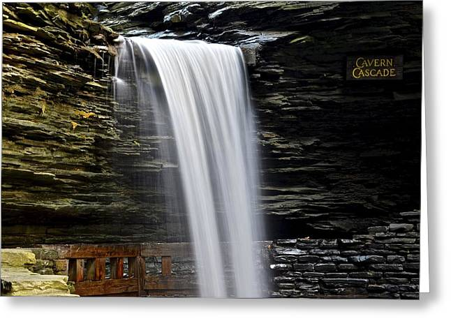 Light And Dark Greeting Cards - Cavern Cascade Greeting Card by Frozen in Time Fine Art Photography